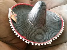 Local Pick up only Adult Mexican straw black Costume Sombrero Hat NOVELTY