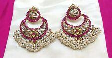 Fashion Earrings Indian Gold Plated Kundan Fuchsia Stone Pearl Beads Jewelry