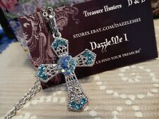 """Silver tone & Baby Blue AB Rhinestone CROSS Religious  w/26"""" chain ~ Lovely Gift"""