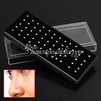 60er Set Nase Piercing Stecker Nasenstecker Nasenpiercing 2mm Strass Silber Neu