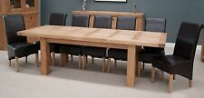 Houston solid oak furniture large grand extending dining table