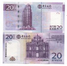MACAU MACAO CHINA 20 PATACAS 2008 PICK 109 UNC
