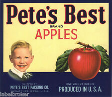 CRATE LABEL VINTAGE ADVERTISING BOY 1950S PETE 'S PETER BEST APPLE USA ORIGINAL