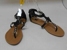 Summer Black Womens Shoes Roman Gladiator Flat Sandals Size 6