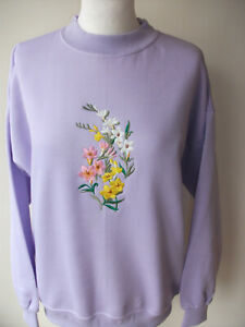 LADIES,WOMENS,LADYS,EMBROIDERED LILAC SWEATSHIRTS,TOPS,JUMPERS,WITH FREESIAS ON