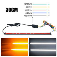 30CM DRL Switchback Flowing LED Strip Light Sequential Turn Signal White&Yellow