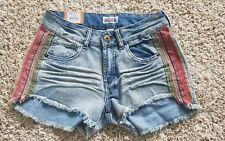 NWT Mudd Juniors High Waist Shortie Shorts Daisy Dukes size 1 Denim Jean Fringe