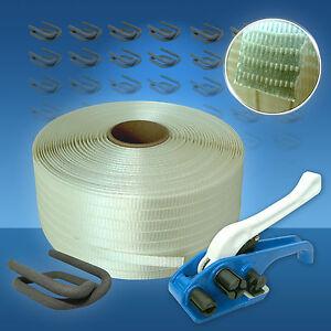 Umreifungsset gewebt 25 mm, Umreifungsgerät Umreifungsband Verschlussklemmen Set