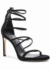 Stuart Weitzman Black Suede Myex Shoes Strappy High Heel Sandals 8 M NEW $455