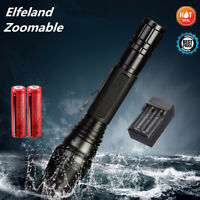 90000LM Zoomable Flashlight Rechargeable 5 Modes T6 LED Torch Lamp 18650+Charger