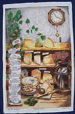 Vintage Retro Unused IRISH LINEN COTTON Tea Towel CHEESE Serving HINTS Cheddar