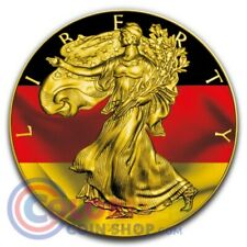 2019 1 oz American Silver Eagle German Flag Gilded Colorized Coin Box & COA