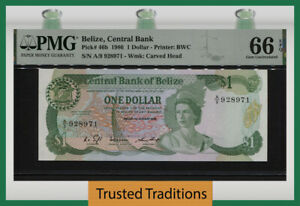 TT PK 46b 1986 BELIZE 1 DOLLAR BEAUTIFUL QUEEN ELIZABETH II PMG 66 EPQ GEM UNC.