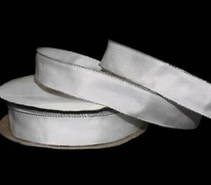 """5 Yards Solid White Silver Edge Wired Ribbon 7/8""""W"""