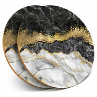 2 x Coasters - Marble Gold Stone Effect Art Home Gift #21842
