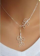 New Fashion Womens Cross Chain Leaves Silver Plated Charm Necklace Pendant