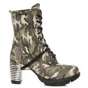 NEW ROCK TR001-S45  FLOWER Shoes women's ankle boots Camouflage Army