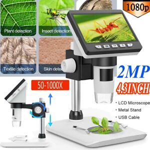 "USB 1000x Digital Mikroskop 4.3"" HD LCD 2MP Microscope Lupe 1080P mit Stand 8LED"