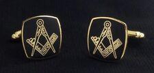 Masonic Cuff Link Set in Black & Gold (2008M-BKG-CL)