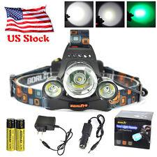 BORUIT 12000LM XM-R2 3 LED 2X18650 GREEN Headlight Headlamp Light AC/Car Charger