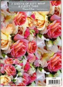 Roses Gift Wrapping Paper Gift Wrap - 2 Sheet & Tags Mother's Day Birthday NEW