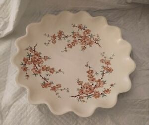 RED WING POTTERY LUNCH HOUR PIECE #426 RUFFLED PLATTER WITH FLOWER DECORATIONS