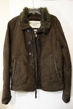 Abercrombie & Fitch ADIRONDACK Jacket Heavy Full Zip Fur Lined Coat Mens M $249