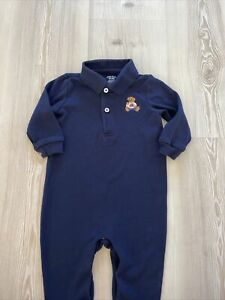 Ralph Lauren Soft Cotton Teddy Romper Age 9 Months Navy