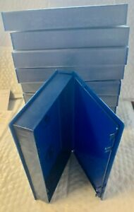 VHS Video Tape Storage Cases- Blue Plastic- Full Sleeve- New - Lot of 10 -Alpha