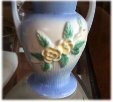 "Vintage Pottery Bud Vase 5"" Blue Pastel Glaze Yellow Roses White Clay Unmarked"