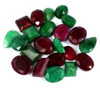 208 ct grüner Smaragd & roter Rubin lose Edelstein viel natürliche Mischungsform