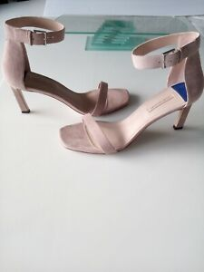 Stuart Weitzman Square Nudist 75mm Ankle Strap Heel Sandals Nude Suede US 11