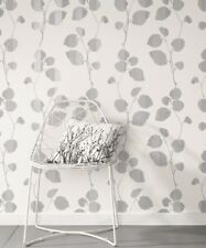 Quality Non Woven Wallpaper White with Grey Leaves Botanical design Wall Decor