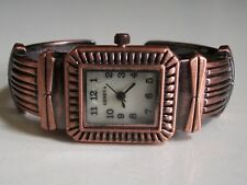 LADIES WESTERN STYLE BRUSH ROSE GOLD FINISH BANGLE CUFF FASHION WATCH