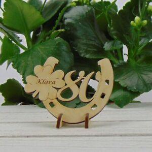 Personalisiertes Geschenk zum 80. Geburtstag Hufeisen Kleeblatt Holz Tischdeko