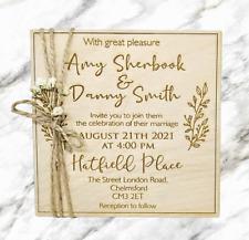 6pcs/12pcs Personalised Wooden Wedding Invitations Rustic Flower Love Romantic