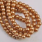 50pcs 8mm Pearl Round Glass Loose Spacer Beads Jewelry Making Gold