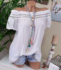 Lockre Sitzende Damenblusen,-Tops & -Shirts mit Carmen und Baumwolle für Freizeit
