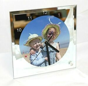 Personalised Mirrored Glass Photo Clock with mechanism