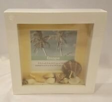 Escape Matted Photo Frame with Sea Shells White Wooden NWT Holds 5.5 X 5.5 inch