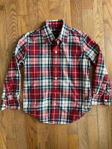 EUC GapKids little boys red plaid button up collar shirt size 6-7 (S) 120 cm