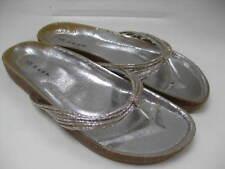 UNWORN Ladies NEXT silver SANDALS MULES slides UK 7 41 shoes toe posts thongs