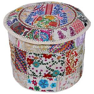 Boho Pouffe Cover Ottoman White Furniture Patchwork Embroidered Round 16 Inch
