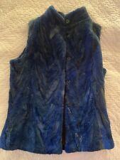 Beautiful Italian Made  Navy 100% Real Rabbit Fur Vest Size Small with lining