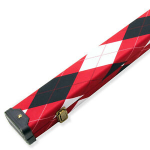 1 Piece Wide RED TARTAN Tough Plastic End Snooker Cue Case – Holds 2 Cues
