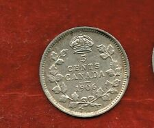 CANADA FIVE CENTS 1906  EDWARD VII..SILVER 92.5.%  MINTAGE 3,100,000