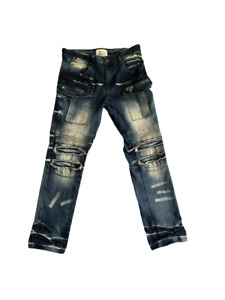 Smoke Rise Denim Jeans Mens Size 32/30 Distressed Destroyed Moto Cargo Pockets