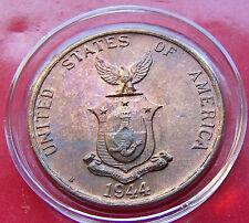 UNC 1944 S Red Brown High Grade Philippine One Centavo with Holder