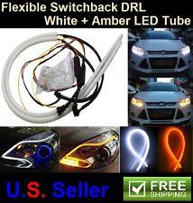 2Pcs 60CM Flexible White Amber Switchback LED Strip Tube DRL Turn Signal Light
