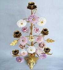 Kerzen Leuchter  Kandelaber Louis XV  Bronze vergoldet & Porzellan Blumen 70 cm